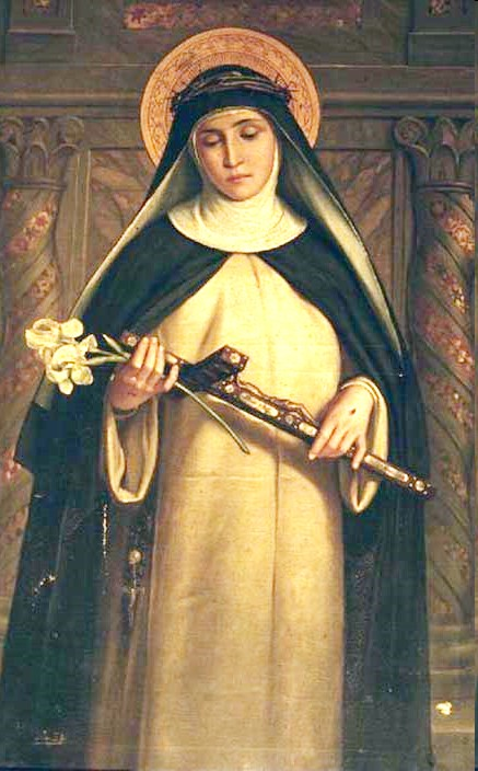 Saint Catherine of Siena 19th century painting (anonymous). She wears a nun's habit and a crown of thorns. Her head is encircled by a halo, and in her hands, she holds a cross and a flower.