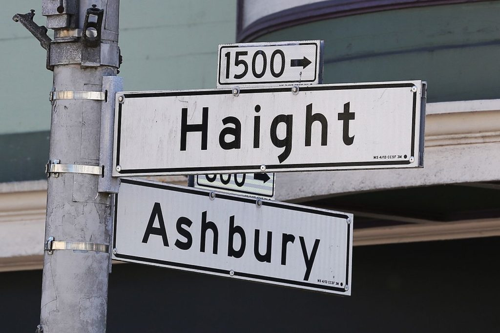 Haight and Ashbury street signs.