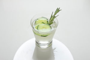 Rosemary sprig cocktail.