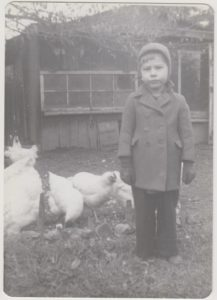 My dad, Lee Goodin, with chickens in Visitacion Valley, San Francisco, early 1940s.