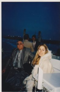 My dad, Lee Goodin, and I on a boat on the San Francisco Bay.