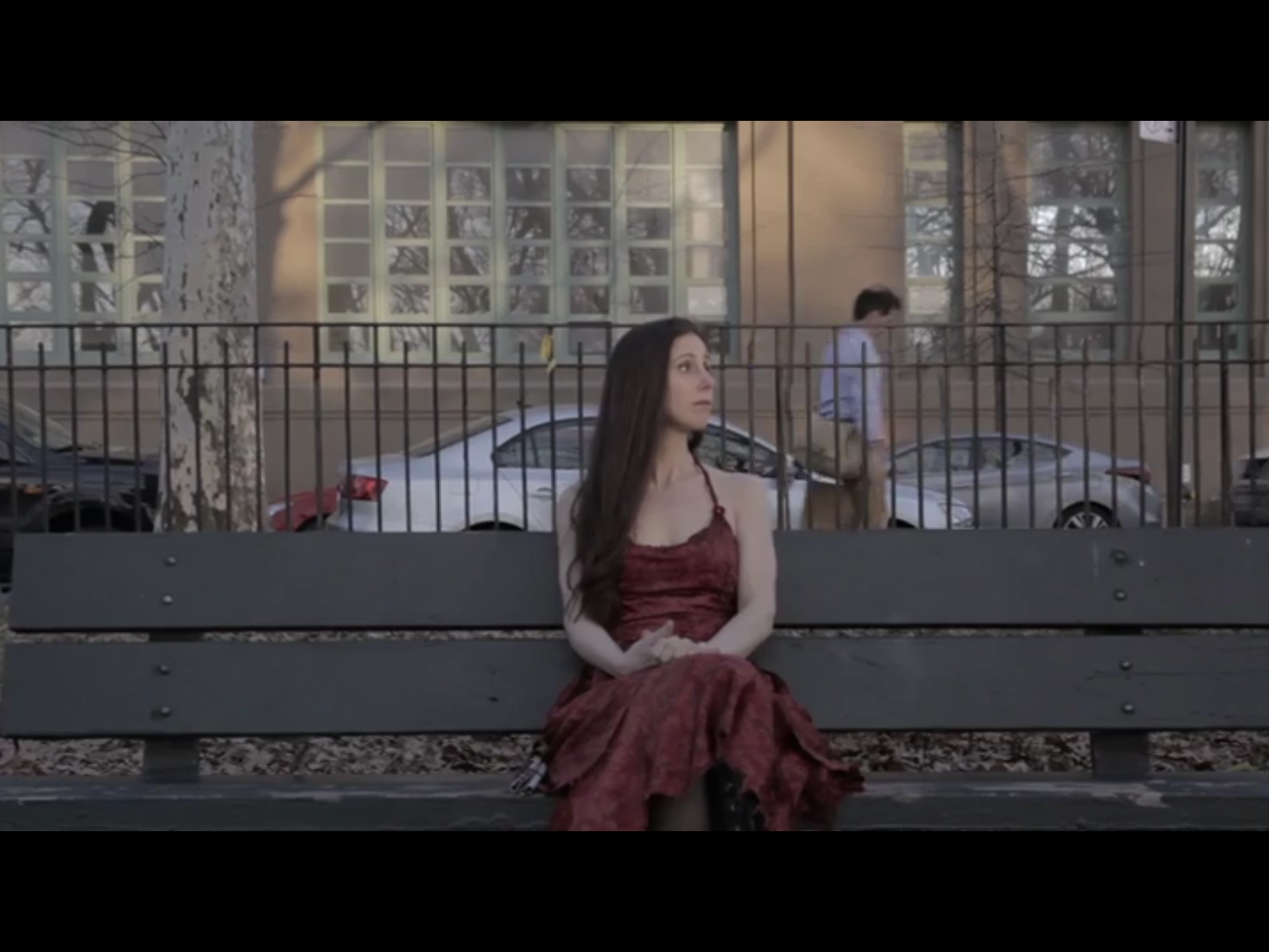"""Blind actor Leona Godin sits forlornly on park bench in """"The Kerfuffle."""""""