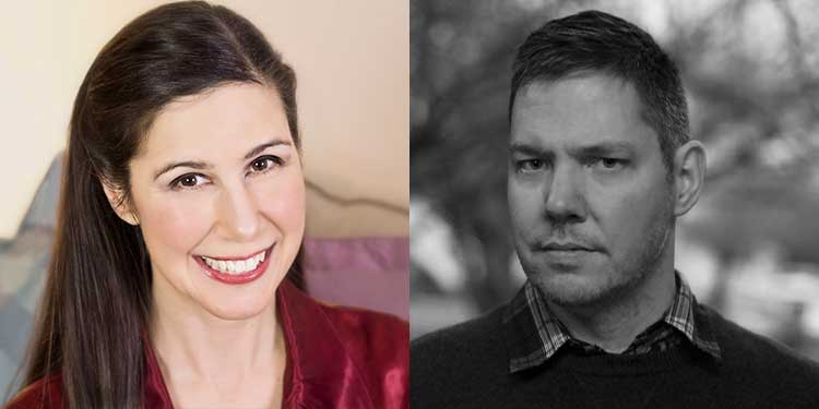 two photos side-by-side of the authors: Godin is posing with a red lipsticked smile wearing a maroon top; Kieth, in a black and white headshot slightly swiveled to the left and slightly serious wearing a dark sweater with shirt collar.