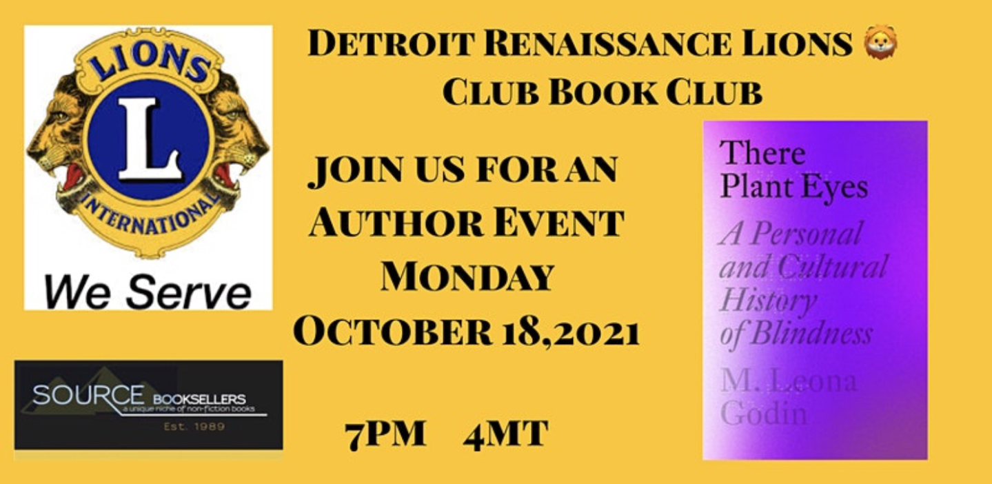 Screengrab of The Detroit Renaissance Lions Club event featuring the Lions International logo of two roaring lions and the cover of There Plant Eyes with its misty violet spectrum.